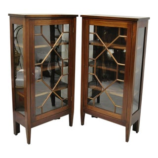 Antique Crotch Mahogany Inlaid Edwardian Glass Display Cabinet Curio Bookcases - a Pair For Sale