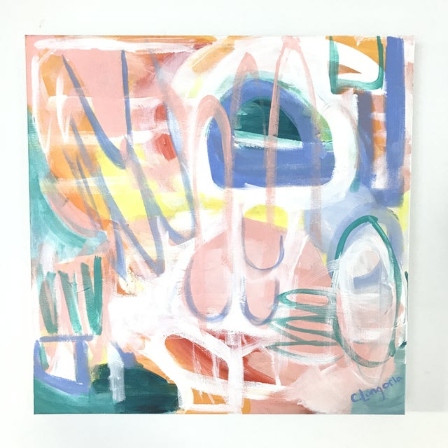 """Abstract Christina Longoria Abstract """"Fiesta 2"""" Painting For Sale - Image 3 of 3"""