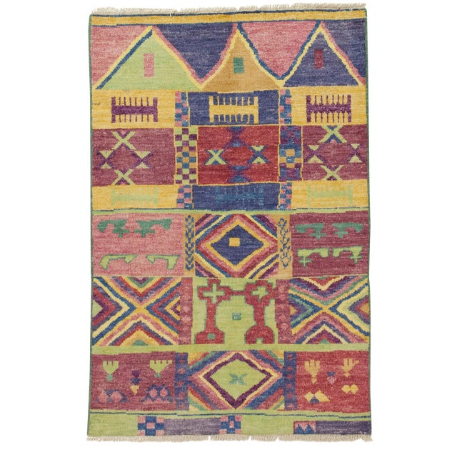 """New Moroccan Hand Knotted Area Rug - 4' x 5'10"""" - Image 1 of 3"""