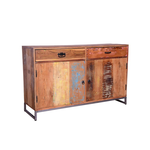 Contemporary Cort Recycled Wood Two Drawer Sideboard For Sale - Image 3 of 6