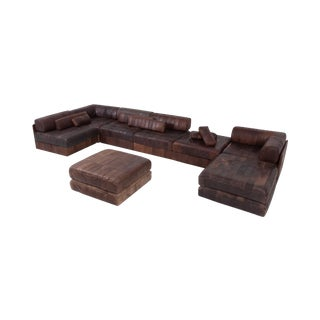 De Sede Ds88 Modular Brown-Cognac Leather Patchwork Sofa For Sale