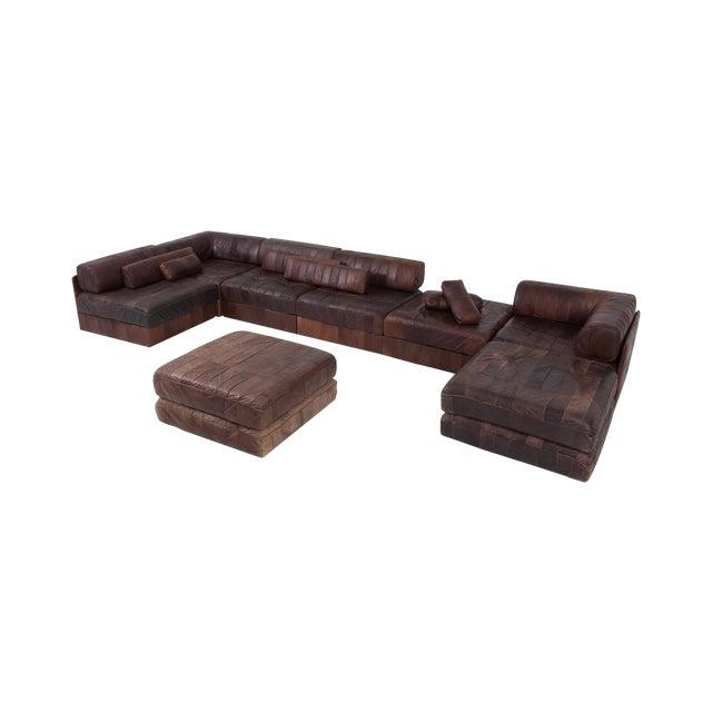 De Sede Ds88 Modular Brown-Cognac Leather Patchwork Sofa For Sale
