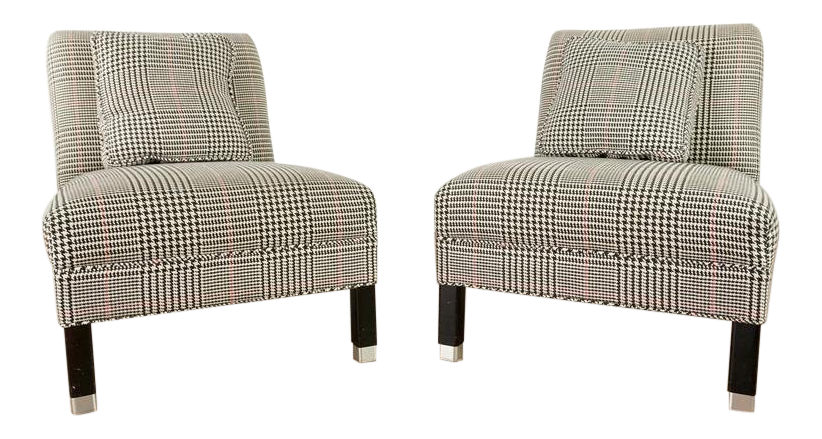Shabby Chic Crate U0026 Barrel Upholstered Slipper Chairs   A Pair