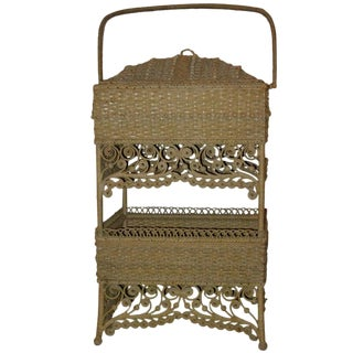 Wicker Elaborate Sewing Basket For Sale