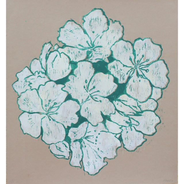 """""""Jasmine Night Smell"""" Floral Woodblock Print by Michelle Farro For Sale"""