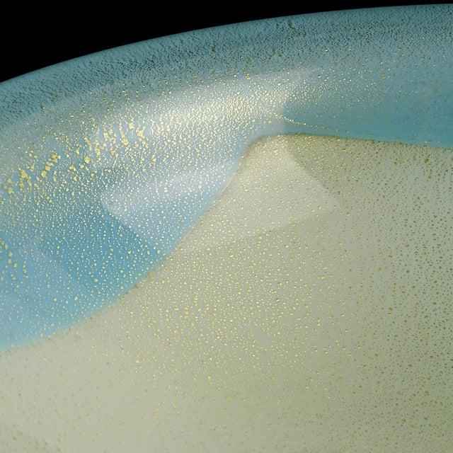 Mid 20th Century Alfredo Barbini Murano Blue Rim White Gold Flecks Italian Art Glass Bowl Dish For Sale - Image 5 of 6