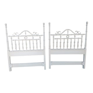 A Pair Omega Vintage White Faux Bamboo Kensington Palm Beach Regency Twin Headboards