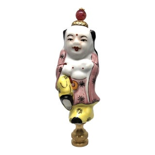 Chinoiserie Porcelain Buddha Figure Lamp Finial