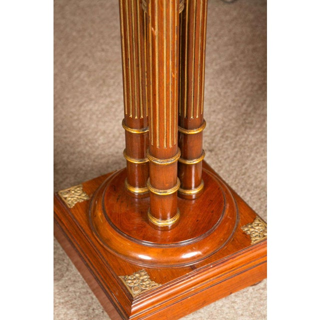 Regency Style Mahogany Column Pedestals Square Marble Tops Brass Accents - a Pair For Sale - Image 4 of 8