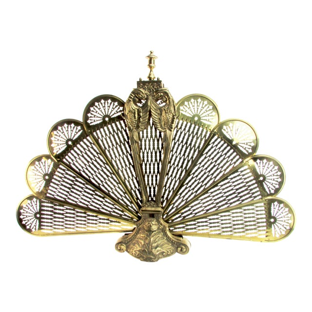 Cast Brass Peacock Fireplace Screen - Image 1 of 8