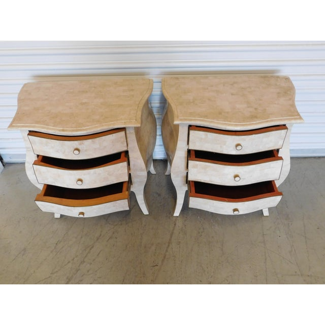 Maitland - Smith Maitland-Smith Mid-Century Vintage Tessellated Bombay Chests- A Pair For Sale - Image 4 of 11