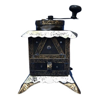 Vintage Handmade Moroccan Coffee Grinder - Silver & Brass Repousse, Ebony Wood For Sale