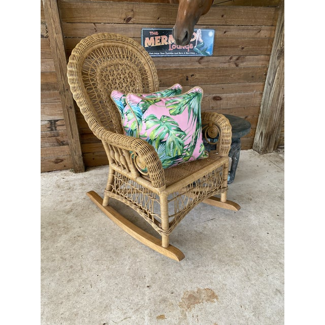 1980's Vintage Fiddlehead Wicker Rocking Chair For Sale - Image 10 of 12