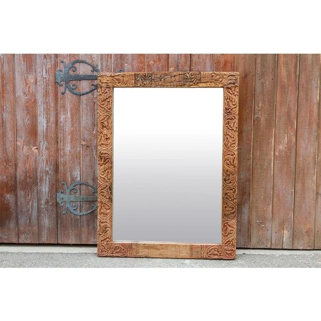 Antique Primitive Fleur De Lis Carved Mirror For Sale - Image 4 of 11