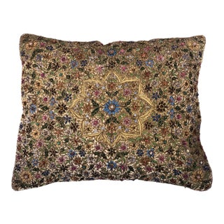 Embroidered and Beaded Velvet Throw Pillow For Sale