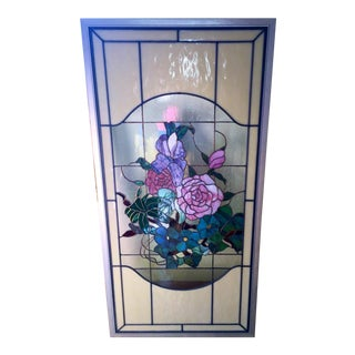 Framed Floral Stained Leaded Glass Panel For Sale