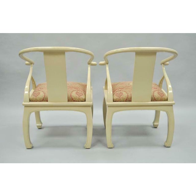 Vintage Cream Lacquered James Mont Style Ming Horseshoe Lounge Chairs - A Pair For Sale - Image 4 of 10