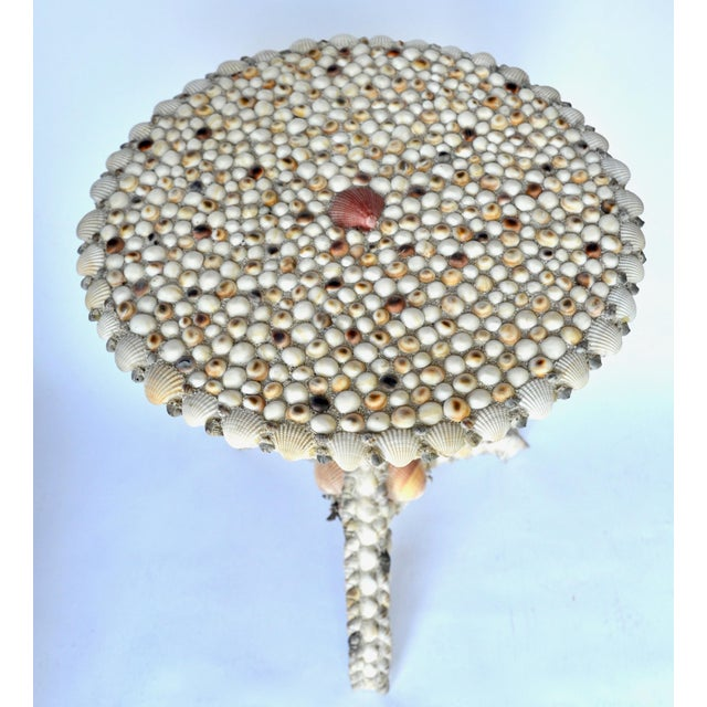 1970s Elegant Seashell Encrusted Side Table For Sale - Image 5 of 8