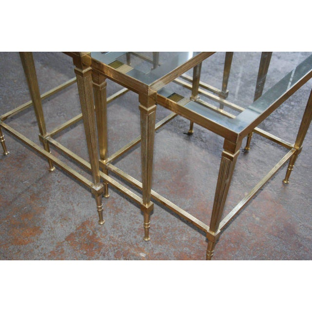 Gold Circa 1950, Italian, Mid-Century Modern, Brass & Mirrored Glass, Nesting Tables - Set Of For Sale - Image 8 of 10