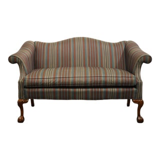 1980s Hickory Furniture Highland House Striped Upholstered Loveseat with Mahogany Legs For Sale