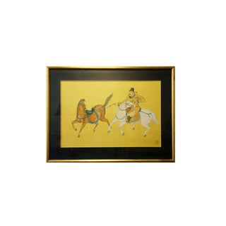 Chinese Chartreuse Horseman Painting For Sale