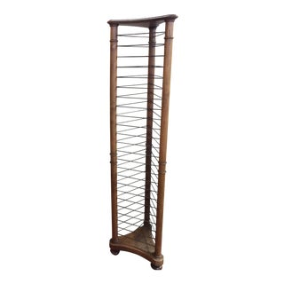 Antique French Fruitwood & Wire Plate Rack