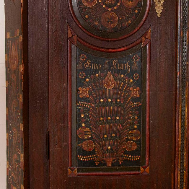 Antique 2 Door Hungarian Armoire With Original Folk Art Paint For Sale - Image 9 of 13