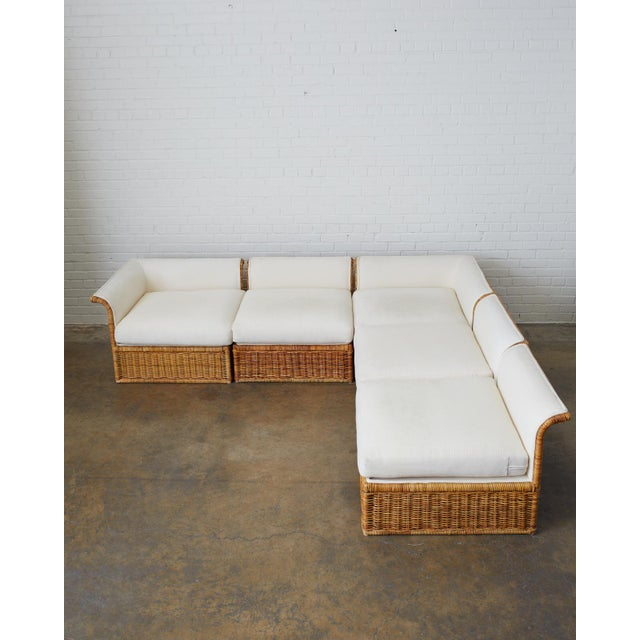 Contemporary Michael Taylor Style Rattan Wicker Sectional Sofa For Sale - Image 3 of 13