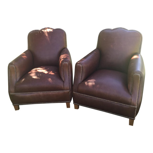 Distressed Leather Chairs - A Pair For Sale