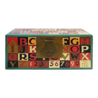 Small Turquoise Multi-Color Characters Rectangular Storage Container Box For Sale