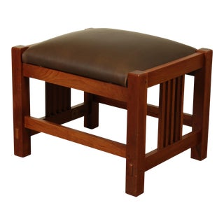 Stickley Mission Collection Cherry Brown Leather Seat Footstool For Sale