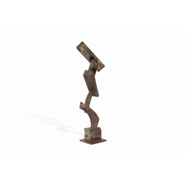 Brown Vintage Mid-Century Brutalist Metal Sculpture by Peter Calaboyias For Sale - Image 8 of 13