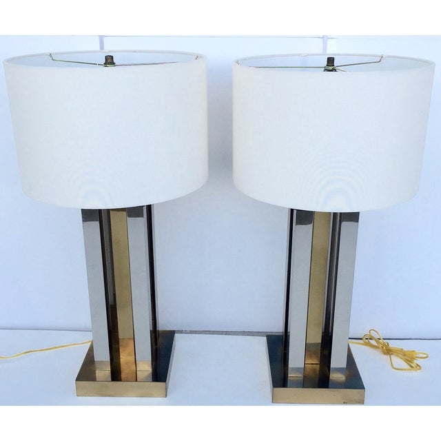 Mid-Century Steel & Brass Column Lamps - A Pair - Image 4 of 9