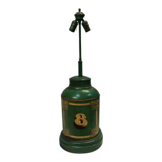 Antique English Tea Canister Lamp For Sale