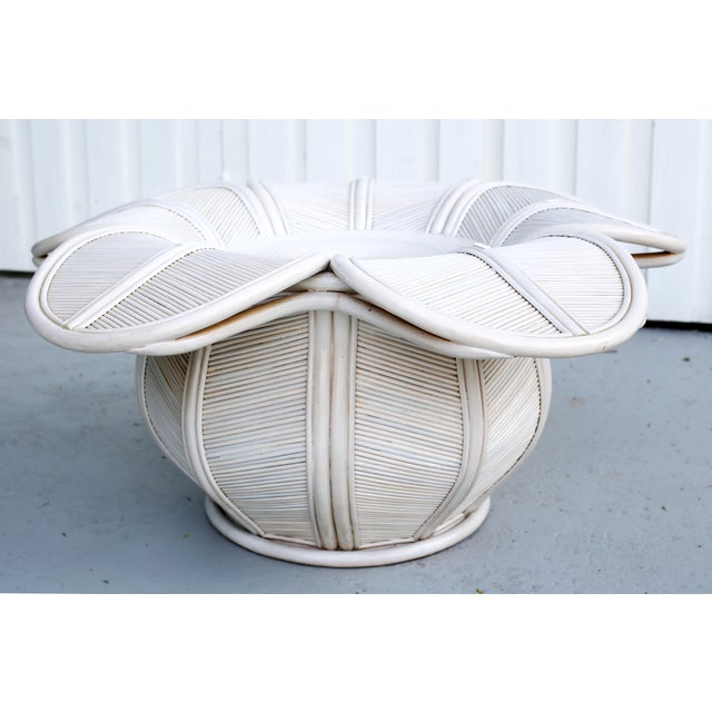 Hollywood Regency 1970s Mid Century Modern Gabriella Crespi / Franco Albini Style Rattan Bell Flower Coffee Table For Sale - Image 3 of 11