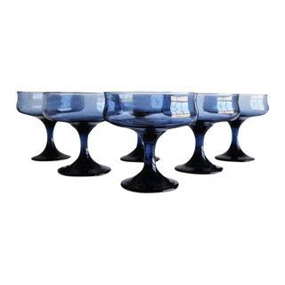 Vintage Blue Cocktail Coupes, Set of 6 For Sale