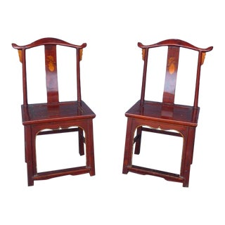 Pair of 19th Century Red Lacquer Ming Chairs For Sale