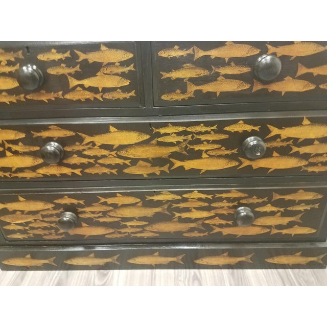 Black Antique English Fish Decoupage Chest of Drawers - Two Drawers Over Two Drawers For Sale - Image 8 of 13