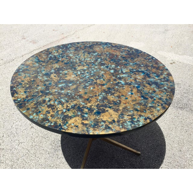 1960s Bistro Style Resin Brass Pedestal Base Dining Table For Sale - Image 4 of 9