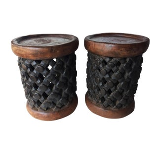"""African Bamileke Wood Spider Stools 15"""" H by 11.5 """" D Cameroon S/2 For Sale"""