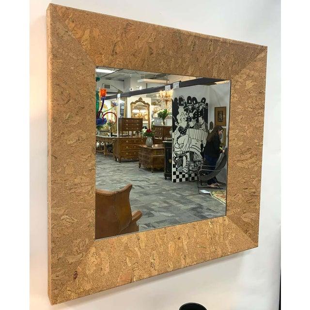 Mid-Century Modern Mid-Century Modern Square Cork Mirror For Sale - Image 3 of 6