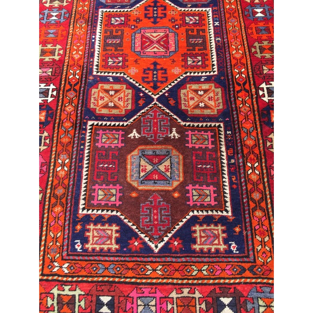 Islamic Vintage Turkish Tribal Hand Knotted Runner - 3′10″ × 10′3″ For Sale - Image 3 of 11