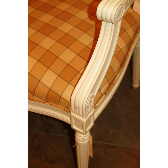 Oval-Back Plaid Upholstered Armchair - Image 5 of 6