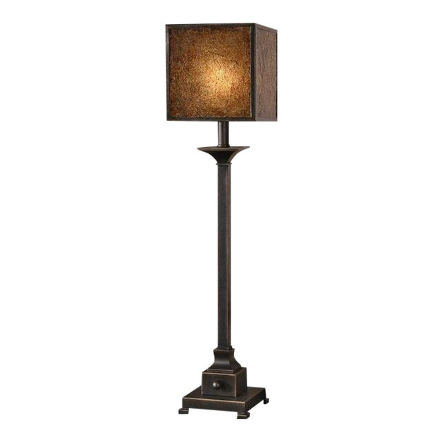 Square Crackle Glass Buffet Lamp - Image 1 of 6