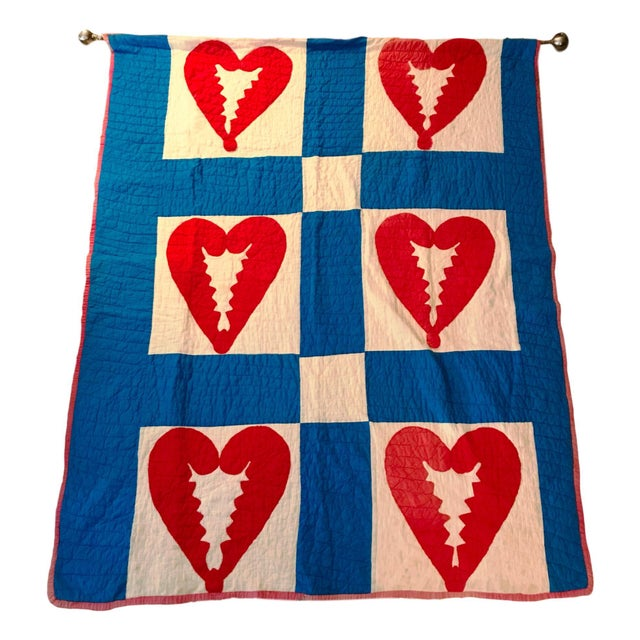 Fabric Handmade Antique Heart Quilt Tapestry For Sale - Image 7 of 7