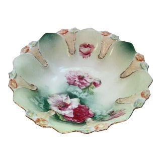RS Prussia Hand Painted Decorated Floral Bowl For Sale