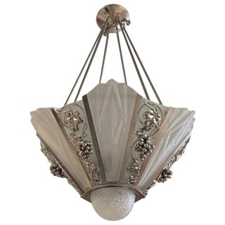 Degue Signed French Art Deco Geometric Chandelier For Sale