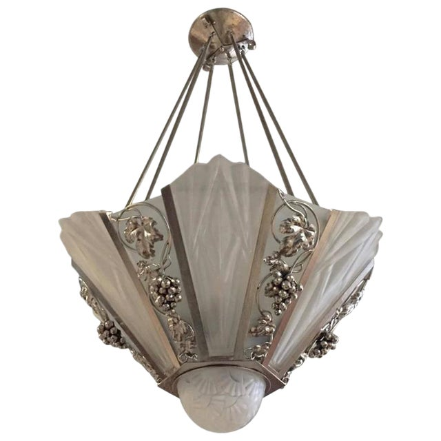 Degue Signed French Art Deco Geometric Chandelier - Image 1 of 9