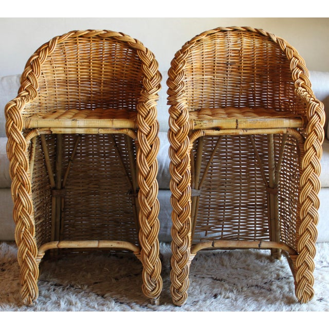 Vintage French Woven Rattan Bar Stools - a Pair For Sale - Image 13 of 13