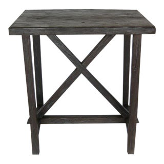 Reclaimed Wood X Side Table For Sale
